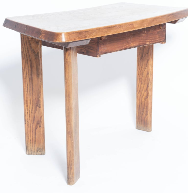 Mid-20th Century Three-Legged Wooden Oak Table with Drawer, in the Manner of Charlotte Perriand For Sale