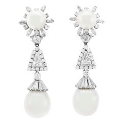 3.00 Carat Diamonds and South Sea Pearls Drop Earrings