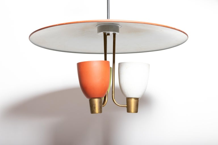 Three Light Ceiling Fixture, 1950's For Sale 6