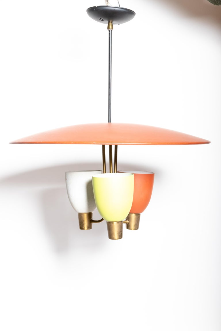 Mid-Century Modern Three Light Ceiling Fixture, 1950's For Sale