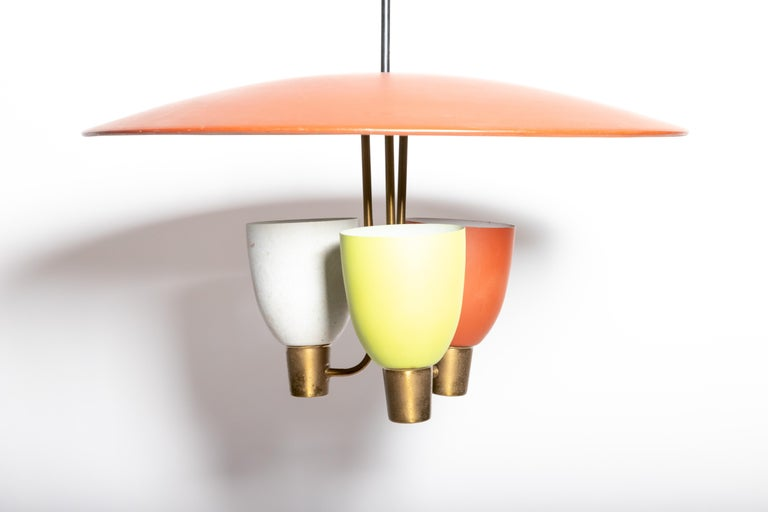 Three Light Ceiling Fixture, 1950's In Good Condition For Sale In East Hampton, NY
