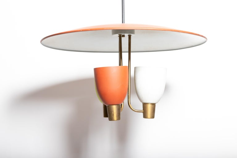 Three Light Ceiling Fixture, 1950's For Sale 2