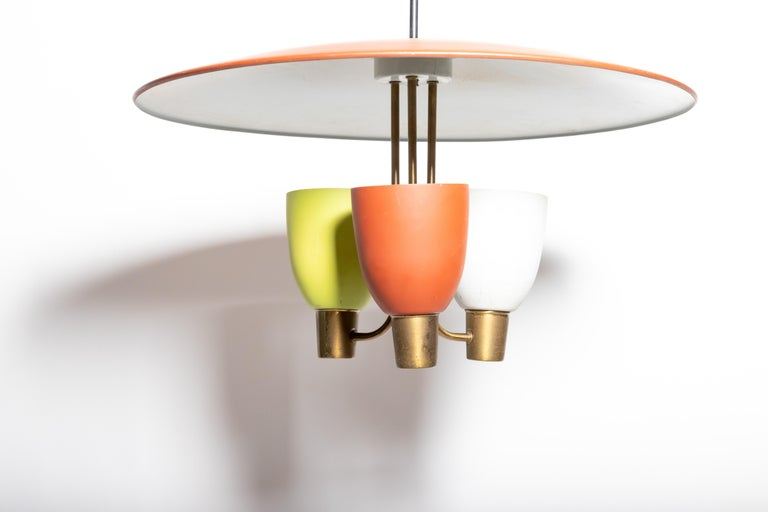 Three Light Ceiling Fixture, 1950's For Sale 3