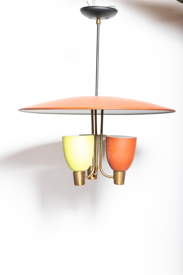 Three Light Ceiling Fixture, 1950's For Sale 4