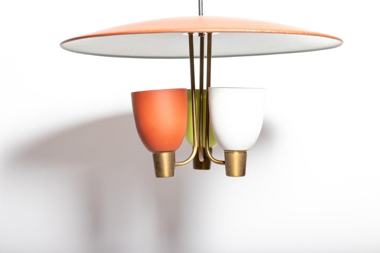 Three Light Ceiling Fixture, 1950's For Sale 5
