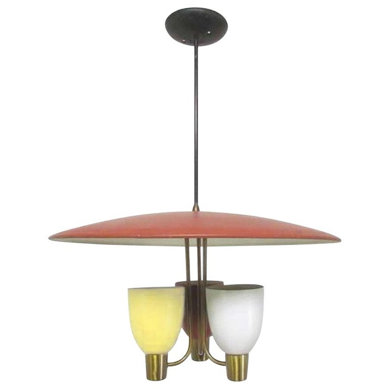 Three-Light Ceiling Fixture, 1950s For Sale