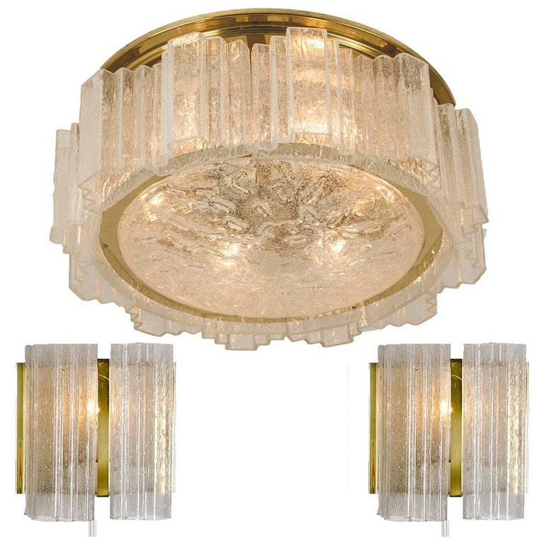 Three-Light Fixtures by Doria, One Chandelier and Two Wall Sconces, 1960s