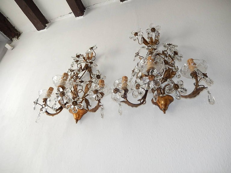 French Three-Light Maison Baguès Style Crystal Flower Sconces For Sale