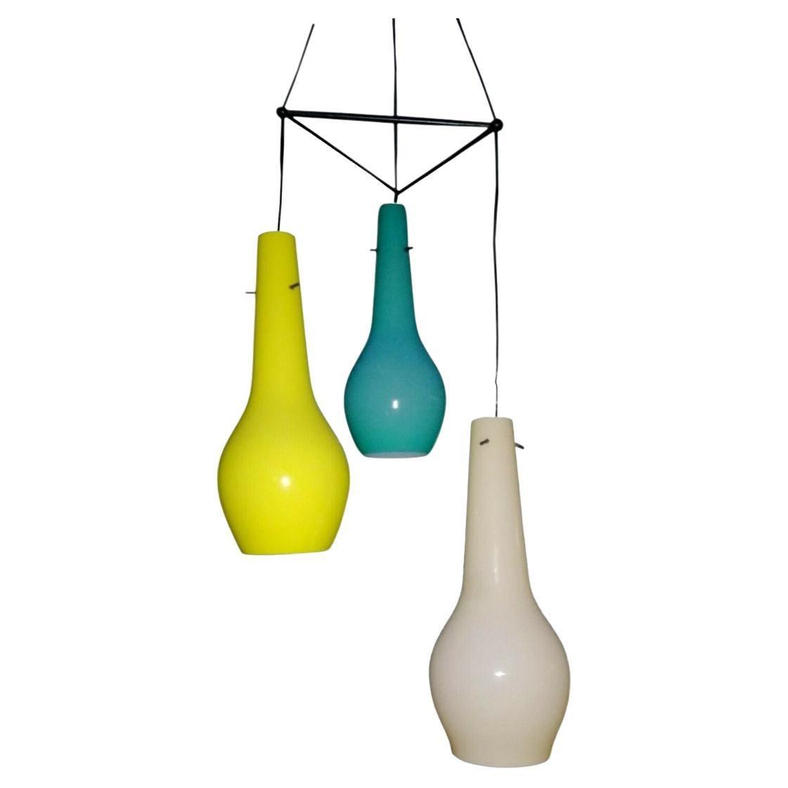 Three Lights Murano Glass Chandelier in the Style of Gino Vistosi, 1950s