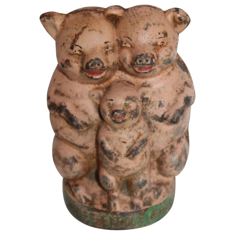 Three Little Pigs Original Painted Iron Bank For Sale