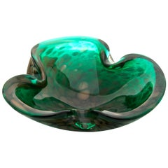 Three-Lobed Crystal Bowl in Dark Greens with Aventurine Flashes in a Whirlpool