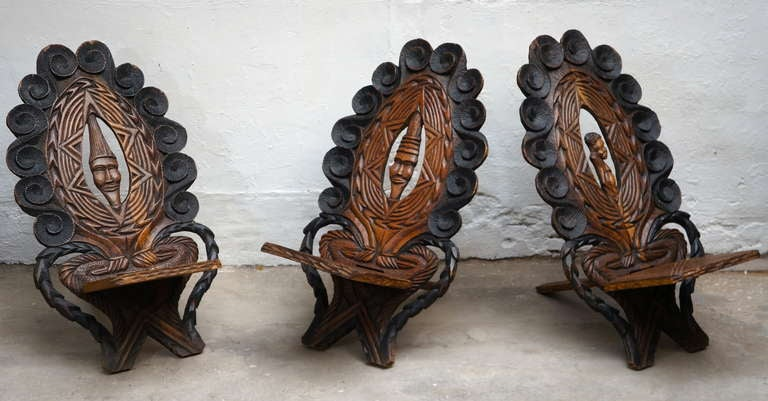 Tribal Three-Low Slung Hand Carved African Lounge Chairs from Congo For Sale