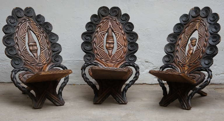 Congolese Three-Low Slung Hand Carved African Lounge Chairs from Congo For Sale