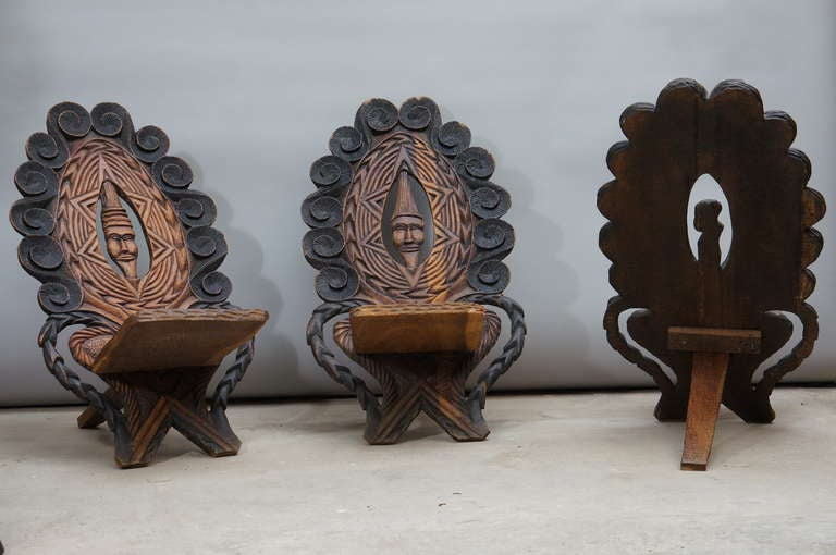 Three-Low Slung Hand Carved African Lounge Chairs from Congo In Good Condition For Sale In Antwerp, BE