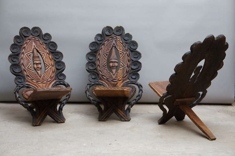 20th Century Three-Low Slung Hand Carved African Lounge Chairs from Congo For Sale