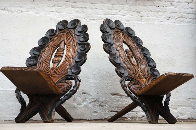 Wood Three-Low Slung Hand Carved African Lounge Chairs from Congo For Sale