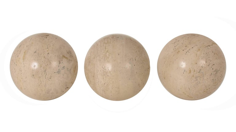 Mid-Century Modern Three Marble balls, polished travertine, Ornament, Italy, 1970s For Sale
