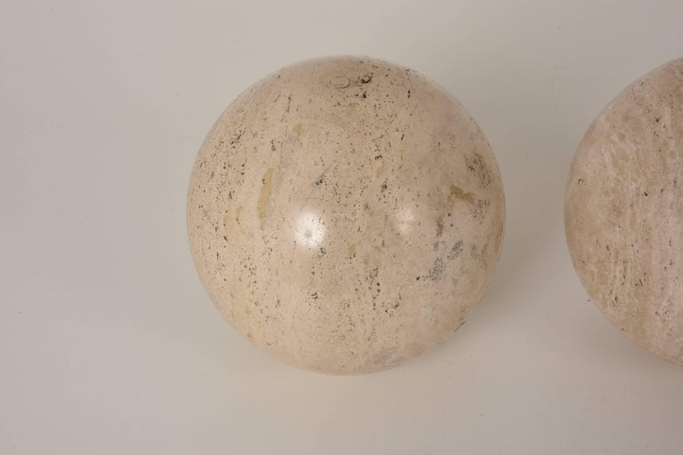 Italian Three Marble balls, polished travertine, Ornament, Italy, 1970s For Sale
