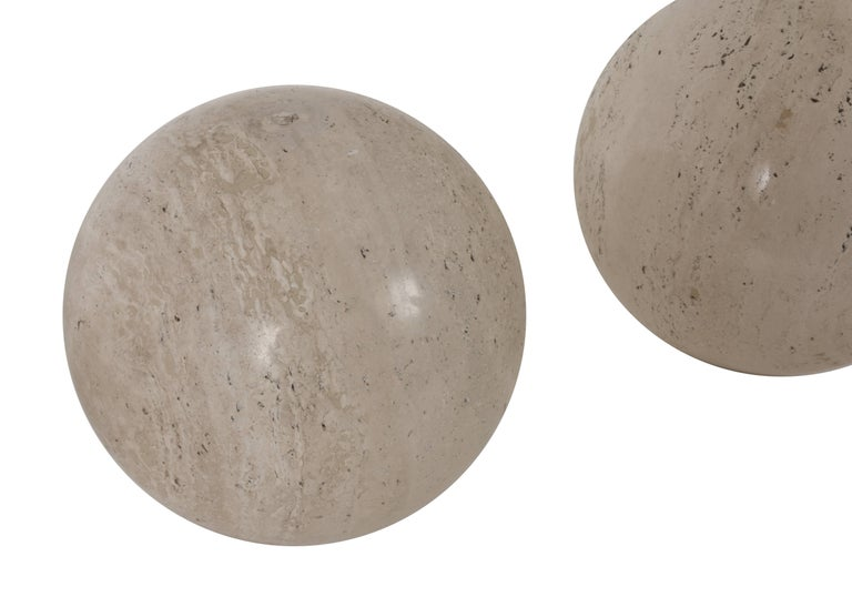 Three Marble balls, polished travertine, Ornament, Italy, 1970s In Good Condition For Sale In Roma, IT