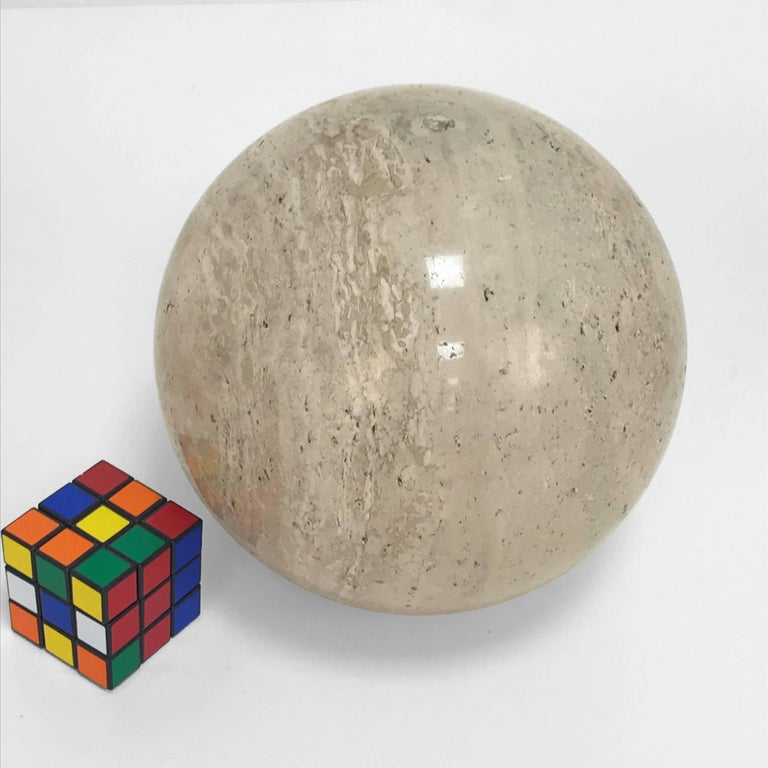 Late 20th Century Three Marble balls, polished travertine, Ornament, Italy, 1970s For Sale
