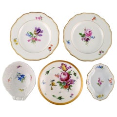Three Meissen Bowls and Two Plates in Hand Painted Porcelain