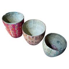 Three Mid-20thC Chinese Papier-Mâché Storage Buckets