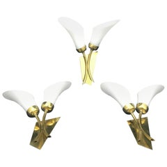 Three Mid-Century Modern Brass and White Glass Wall Sconces, Italy, 1950