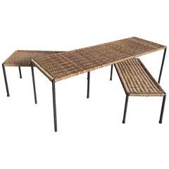 Three Mid-Century Modern Carl Auböck Rattan Coffee & Side Table, 1950s, Austria