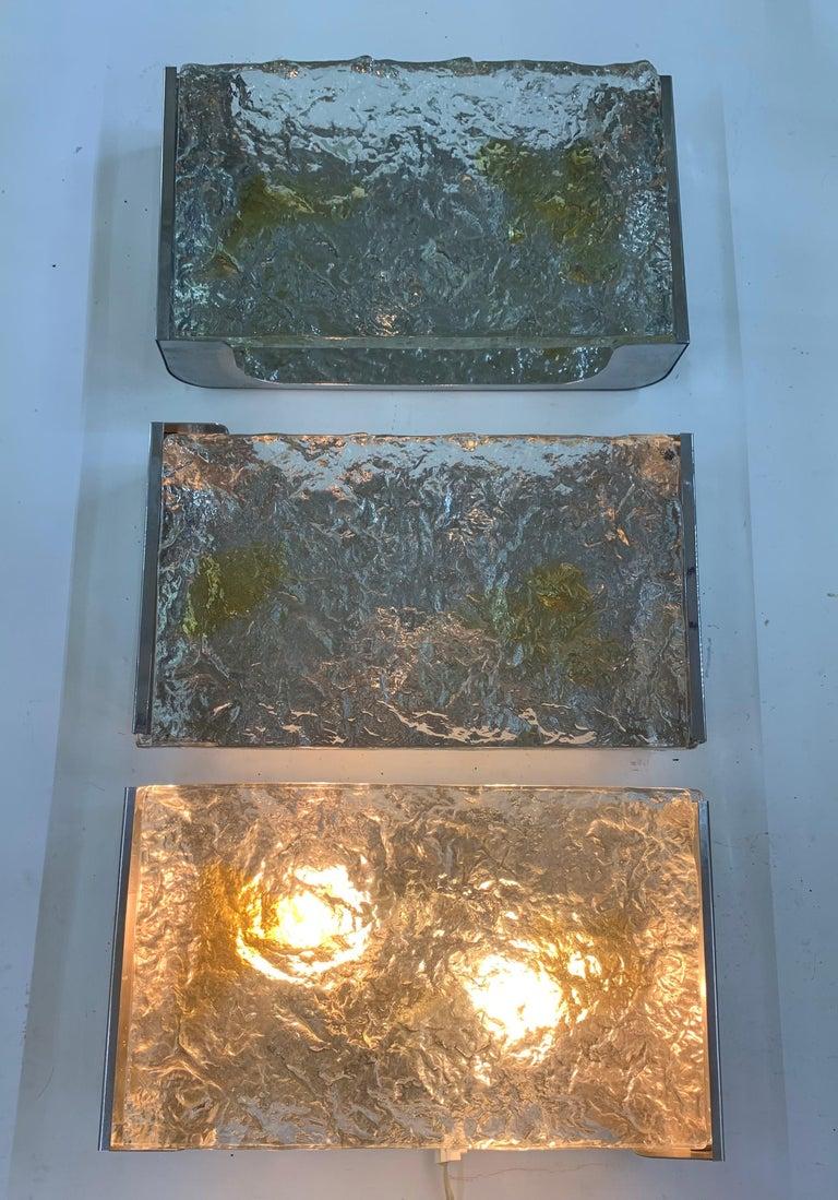 20th Century Ten Mid-Century Modern Chrome and Murano Glass Sconces by Venini, circa 1960 For Sale