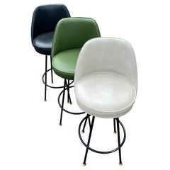 Three Mid-Century Modern High-Back Swivel Black, White And Green Barstools