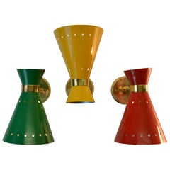 Mid-Century Modern Italian Red, Yellow, Green & Brass Sconces
