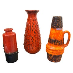 Two Mid-Century Modern Fat Lava Ceramic  Vases and a Jug circa 1970