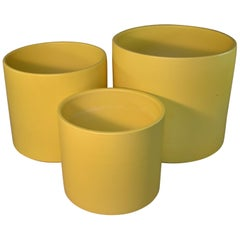 Three Mid-Century Modern Pale Yellow Gainey Ceramics Planters