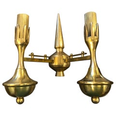 Three Mid-Century Modern Solid Brass Italian Two Lights Wall Sconces, circa 1950