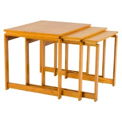 Three Midcentury Scandinavian Danish Modern Beechwood Nesting Tables Set, 1970