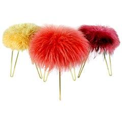 Three Midcentury Brass Hairpin Legs Fur Stools, 1950s, France