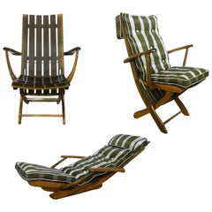 Three Midcentury French Adjustable Patio or Garden Chairs by Clairitex