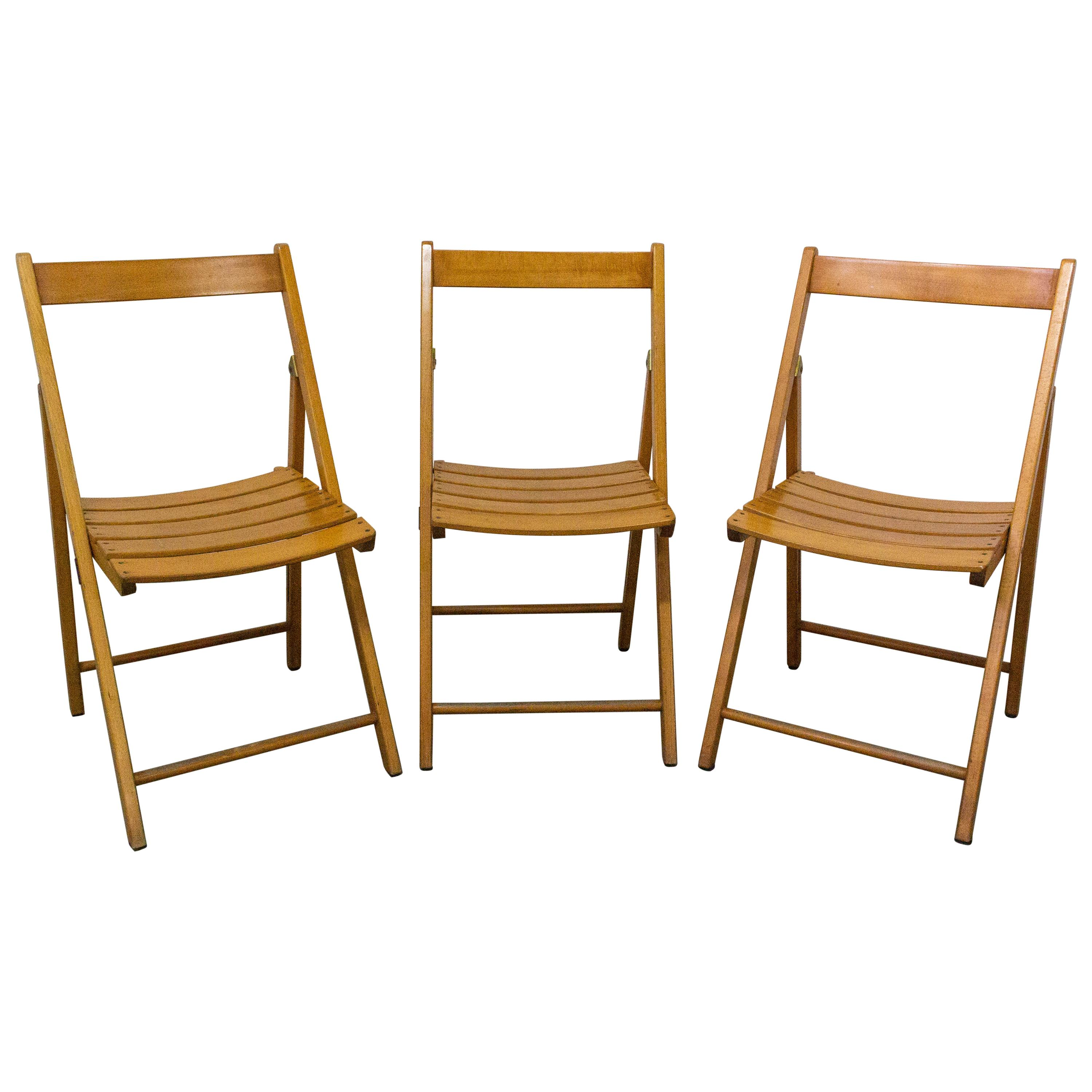 Three Midcentury French Patio, Garden Dining Folding Chairs by Clairitex