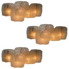Three Midcentury Ice Glass Scones, Wall Lights by J.T Kalmar, Austria 1960s