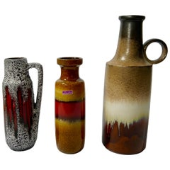Three Mis-Matching Fat Lava Vases, West Germany 1960s