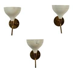 Three Model D12 Sconces by Oscar Torlasco for Lumen