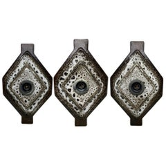 Three Modernist 1970s German Ceramic Fat Lava Wall Lights Sconces by Pan Germany