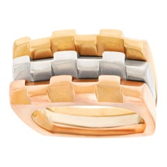 Three Modernist Gold Stacking Rings
