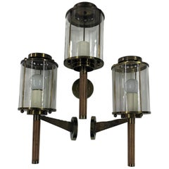 Three Modernist Sconces Maison Arlus Attributed in Brass, Wood and Glass, France