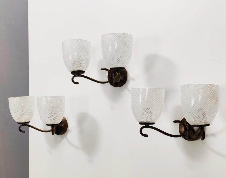 Italian Three Murano Glass and Brass Appliqués by Venini, Italy For Sale