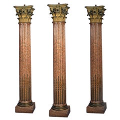 Three Neoclassical Style Granite Columns After Pierre Gouthière, French