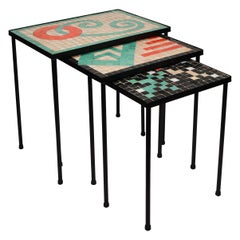 Three Nesting Mid Century Iron and Mosaic Glass Tiles Table