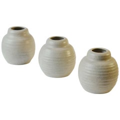 Three Oat White Ceramic Studio Pottery Vases