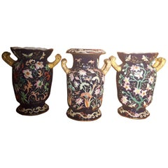 Three Oriental Style English Vases