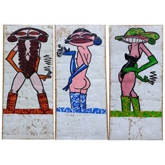 Three Original 1992 P. Szekely Paintings for Emilio Pucci